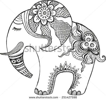 Indian Elephant Painted By Hand Coloring Pics Pinterest Arte - Coloring-pages-elephants