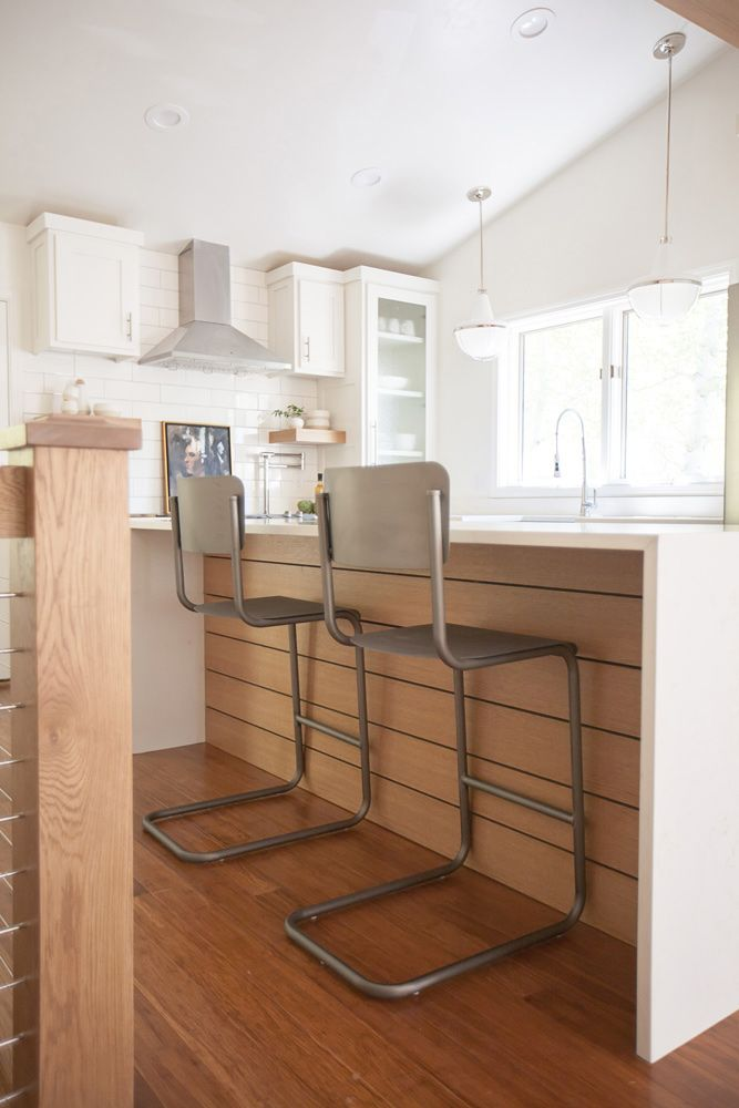 Kitchens With Wood Paneling: Kitchen Island With Waterfall Sides And Shiplap Wood