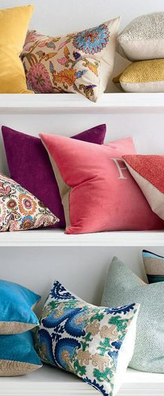 Colorful Throw Pillows   Transition from winter to spring by swapping out decorative accessories with cheerful new additions like cozy and colorful boucle faux mohair throws or playful velvet and patterned pillows. #spring #springdecor #springdecoratingideas #decoratingideas #homedecor #decor #pillows