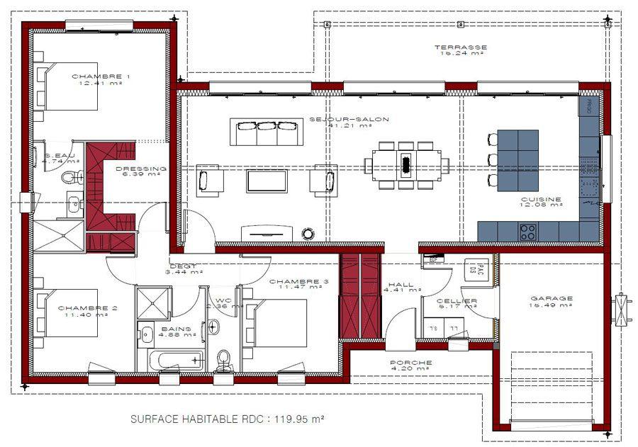 Modèle de maison Célia 121 - IGC Construction Plans de maison en - Modeles De Maisons A Construire