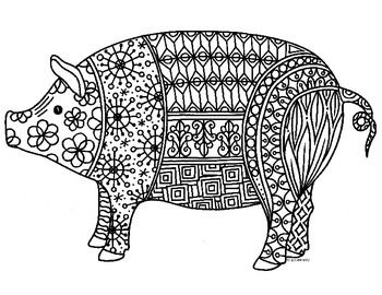 Pig Zentangle Coloring Page 2019