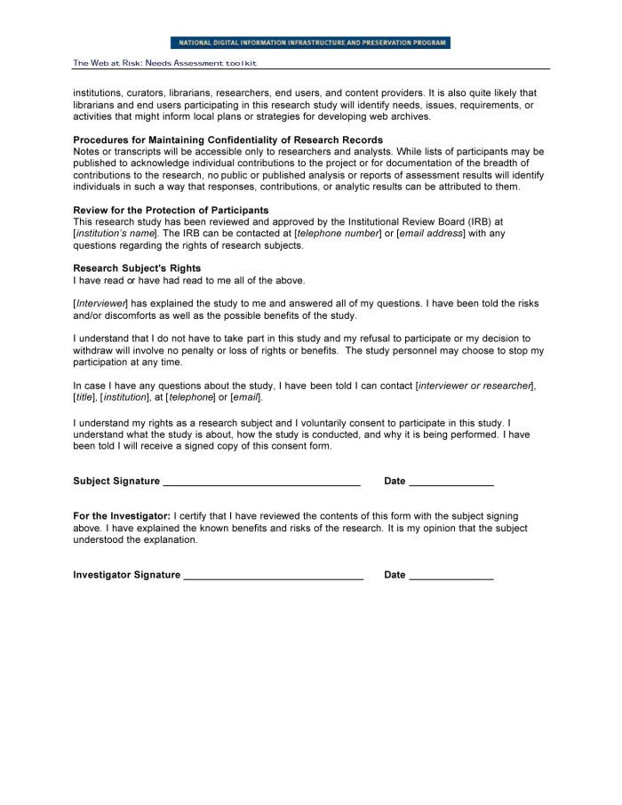 Research Consent Form Focus Groups And End User Interviews Page