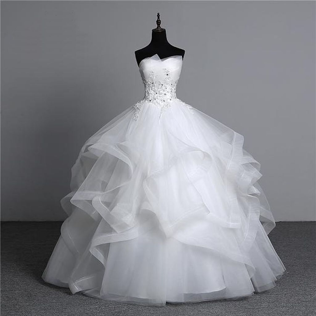 Plus Size Vintage White Wedding Dress With Intricate Appliques And Pearls Ball Gowns Wedding Bridal Ball Gown Wedding Dress Fabrics