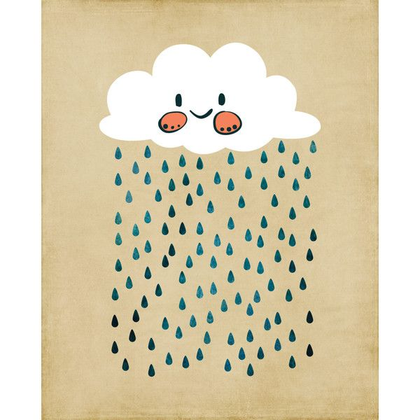 Happy Rain Cloud Print ($18) ❤ liked on Polyvore featuring home ...