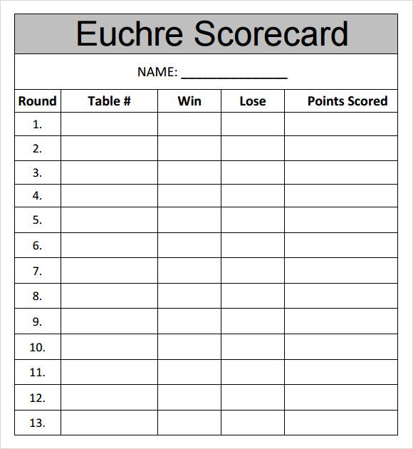 Exceptionnel Scorecard Template Sample Euchre Score Card Template   Free Documents  Downlopad In .