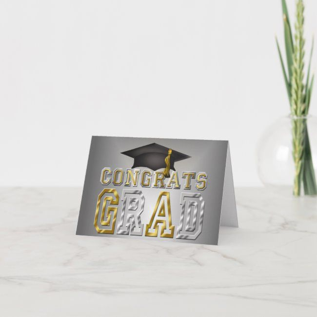 Congrats Grad Graduation  Black Silver Gold Card