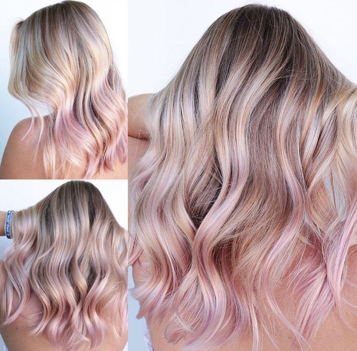 Cool Blonde Hair With Pastel Pink Rose Gold Hair Tips Hair Hacks