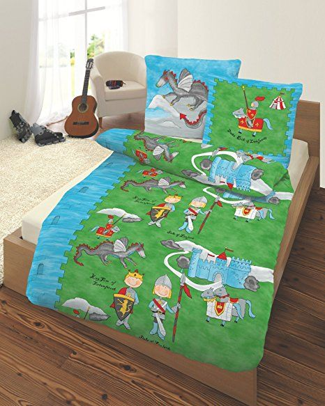 Ido Renforce Kinder Bettwasche 2 Tlg Ritter Grun 135x200 Cm