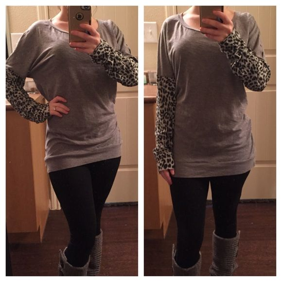 Victoria's Secret PINK Leopard Sleeve Top Good condition gray top. True to size. One day shipping. No trades and no holds. 20% off of bundles. PINK Victoria's Secret Tops