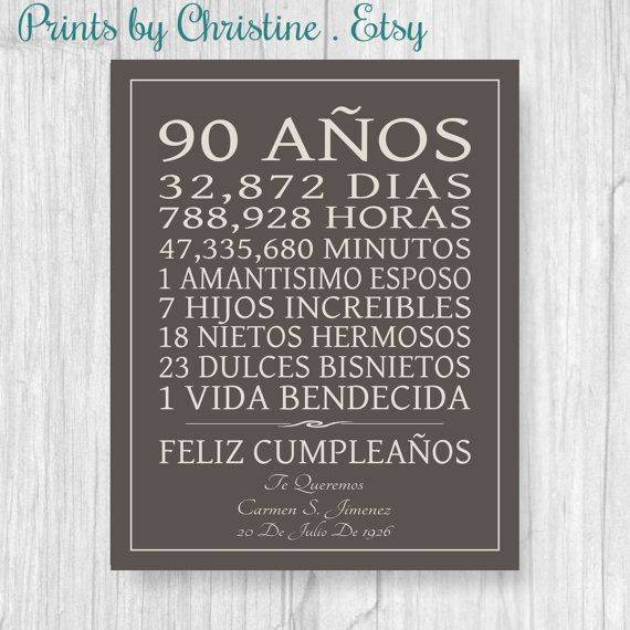 90th Birthday Gift In Spanish Canvas Sign Print Personalized Art Mom