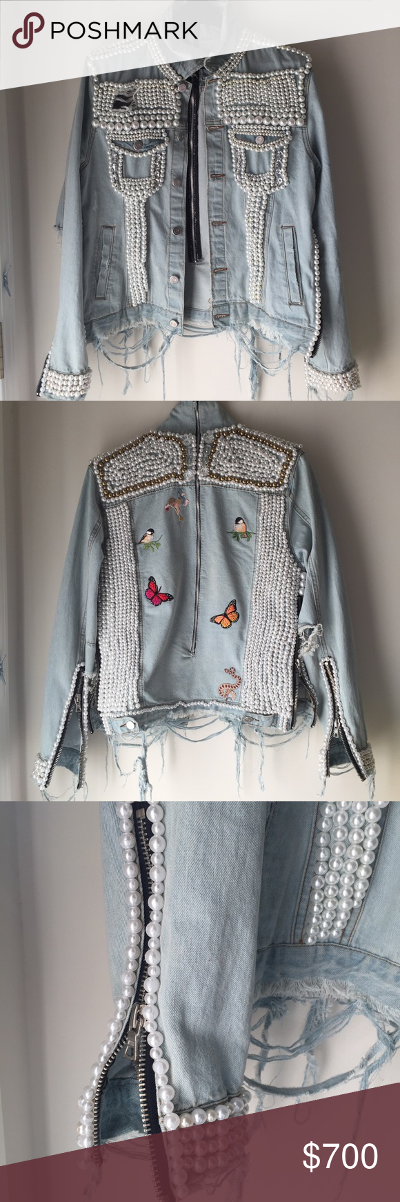 Denim Pearl Jacket Custom 3500 Pearl Denim Jacket 600 On Anything Else Balmain Jackets Coats Jean Jackets Embellished Denim Fashion Denim And Lace [ 1740 x 580 Pixel ]