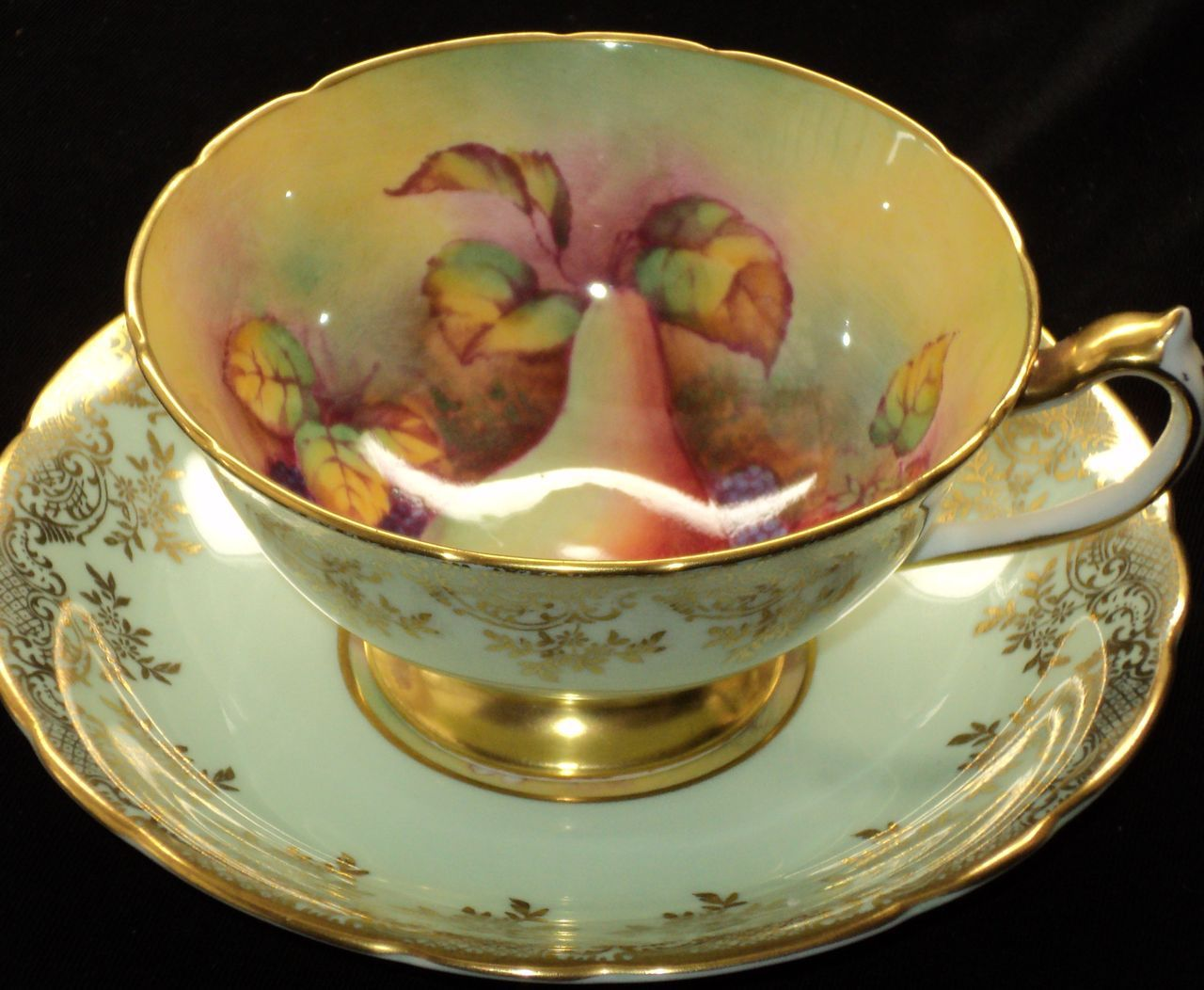 Green with fruit Teacup and Saucer