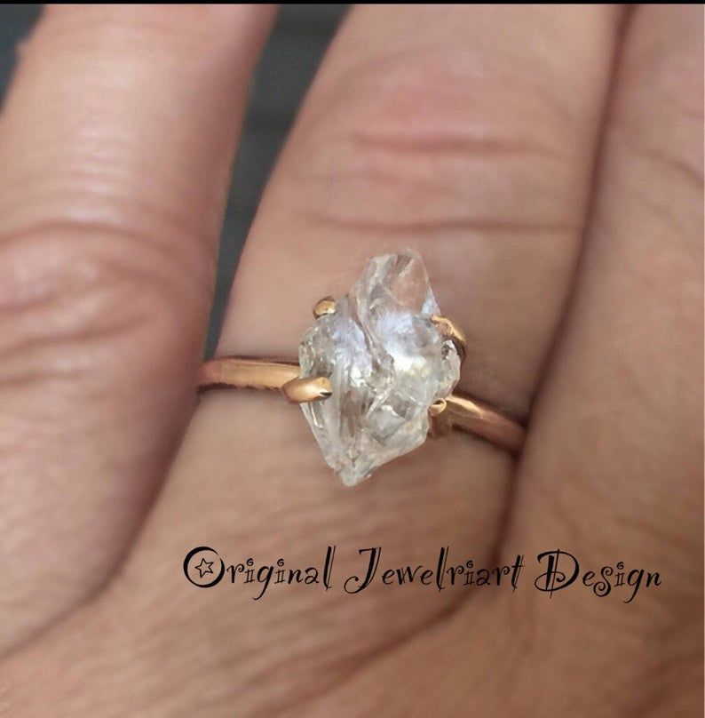 Super Sale Pricing Solid Raw Rose Gold Herkimer Diamond RingGorgeous Rough Uncut  Diamond Rose Gold RingHealing Crystal RingFree US Ship