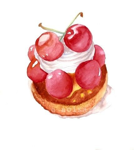Cherries and whipped cream pastry original watercolor - Dessert dessin ...