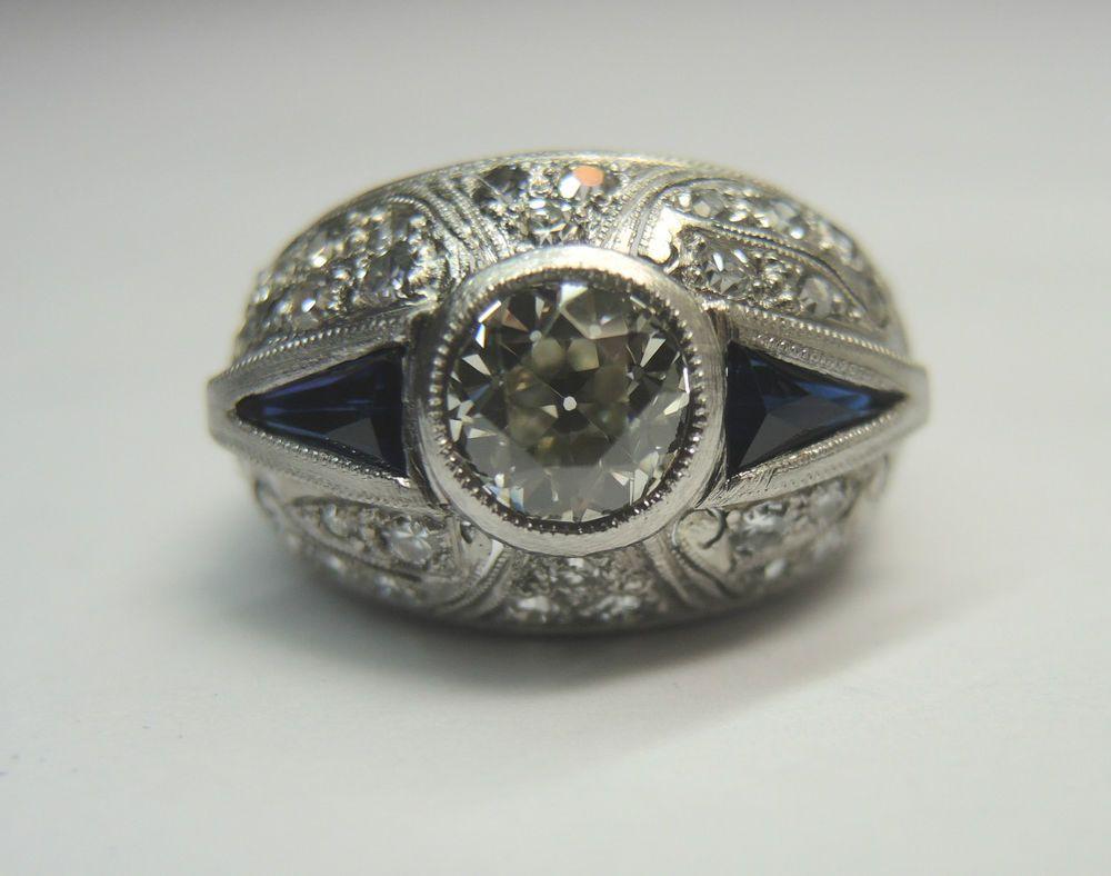 Antique Diamond Engagement Solitaire Ring Platinum Vintage