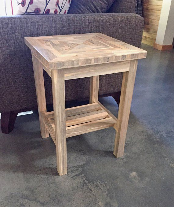 End Table Beetle Kill Blue Pine Wood 22 Tall With A 15 5 8 Top
