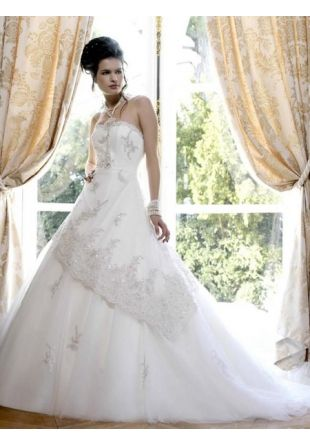 Cheap Wholesale New Style White Halter Tube Top Organza Princess Wedding Dress