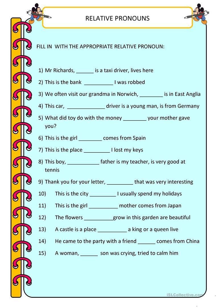 Relative Pronouns Worksheet 4th Grade in 2020   Pronoun worksheets [ 1079 x 763 Pixel ]