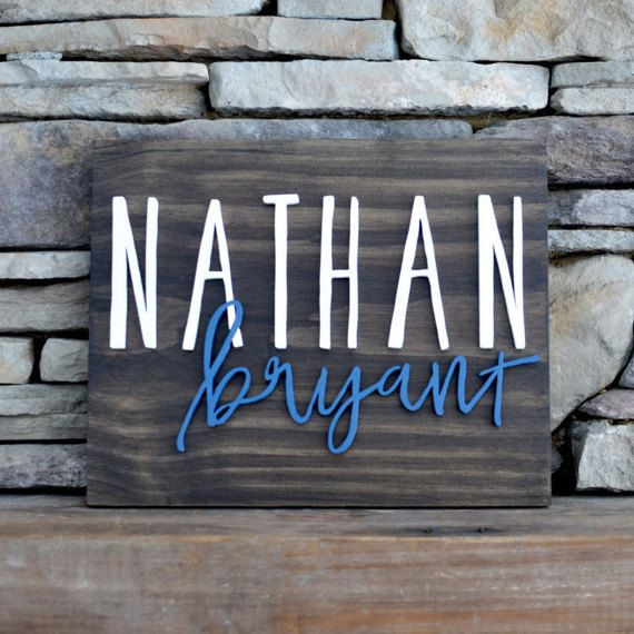 Modern Wood Name Sign Board Rectangle Custom Wall Art Nursery