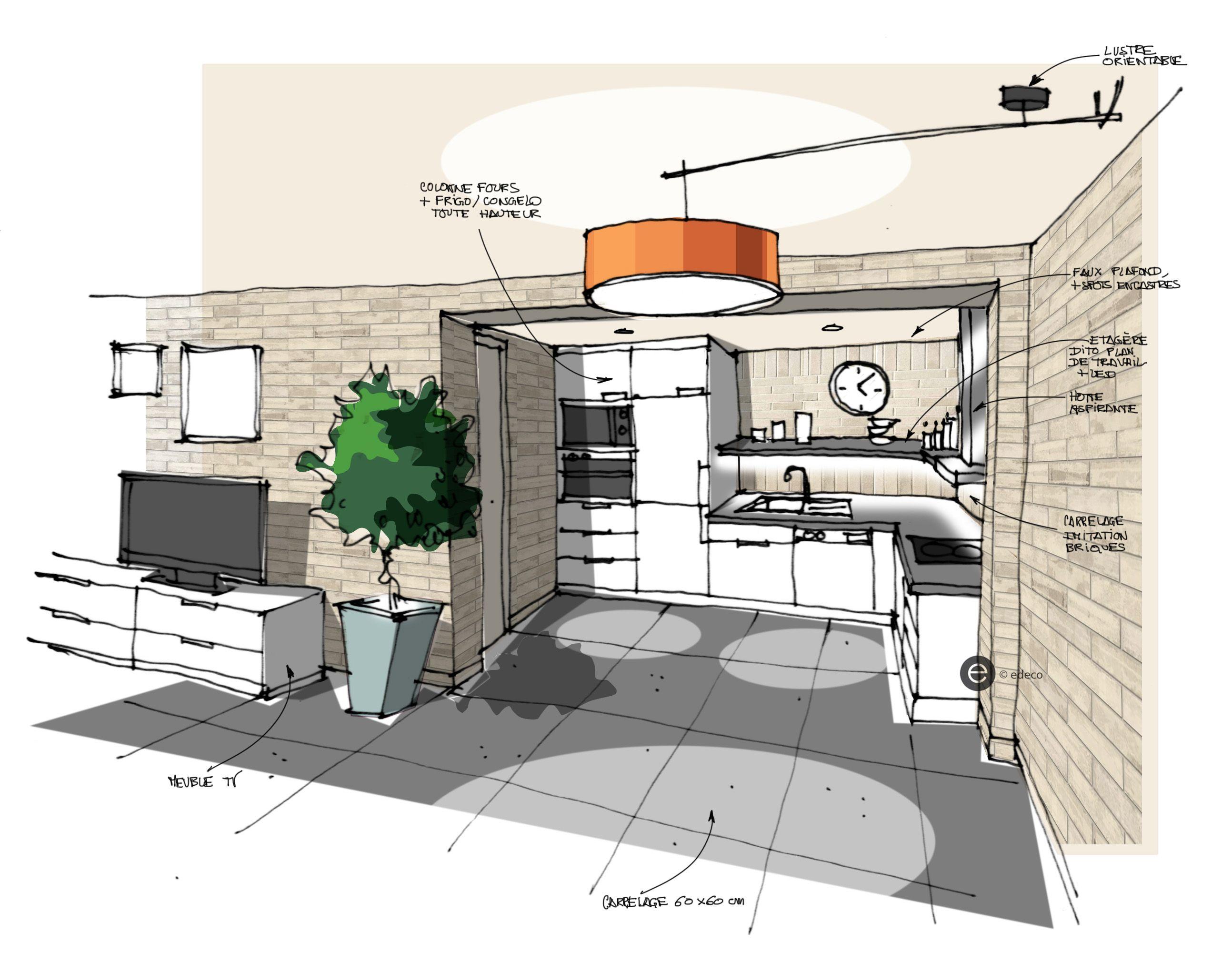 Cuisine ouverte sur salon b ton cir mur en briques for Perspective cuisine dessin