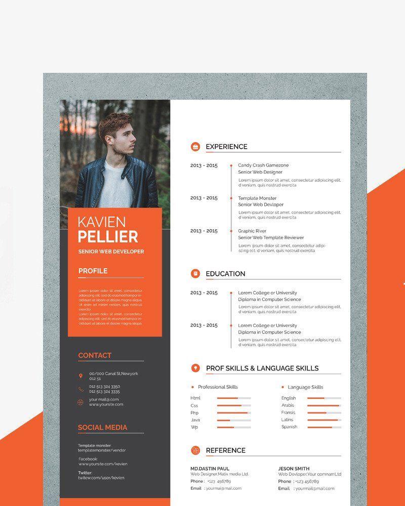 Kavin Creative Resume Template 84073 Desain Cv Desain Resume Cv Kreatif