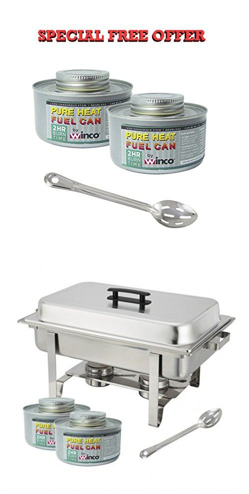Winware Stainless Steel Full Size Chafer 8 Quart Chafing Dish Set With 2 2h Fuels And 15 Inch Slotted Serving Spoon