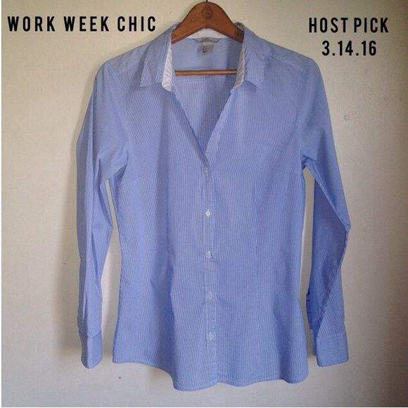HP H&M | White Blue Pinstripe Blouse Shirt  Host Pick (3/14/16): Work Week Chic  by: @goodchic  H&M White Blue Pinstripes Button Down Blouse  Size: 14 Colors: Blue, White Pattern: Pinstripes  This blouse is in pristine condition. It is a v-neck design and features long sleeves which can be buttoned/unbuttoned at the cuffs. It features pinstripes and is defined at the waist providing a nice feminine silhouette.  No trades. Please refrain from asking. H&M Tops Button Down Shirts