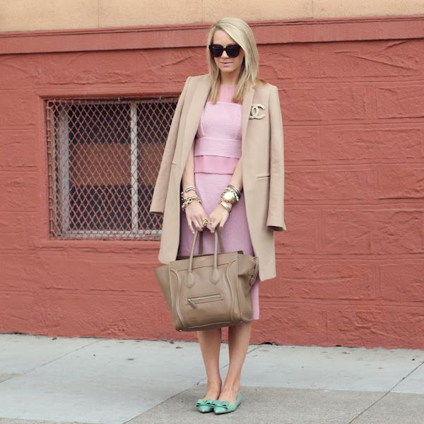 pale pink and camel