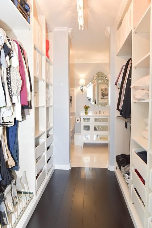 Gorgeous Galley Style Custom Walk In Closet Is Fitted With