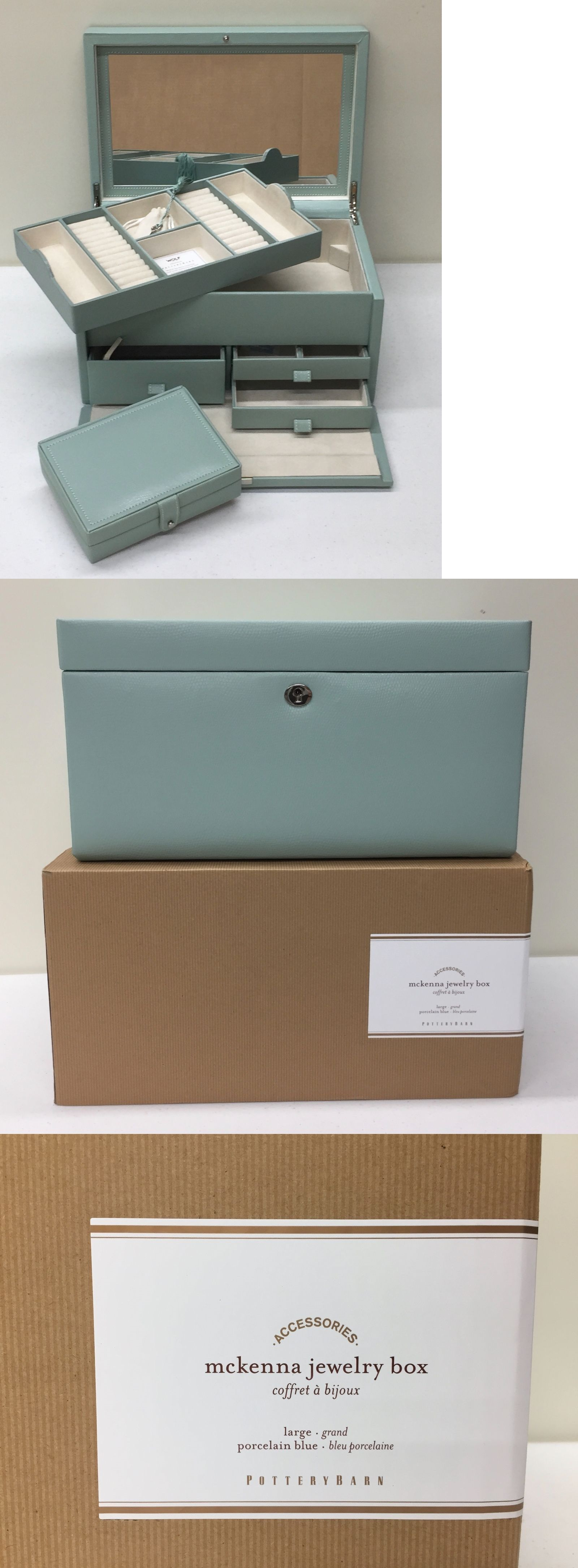 Jewelry Boxes 3820: New Pottery Barn Mckenna Leather Large Jewelry Box,  Porcelain Blue