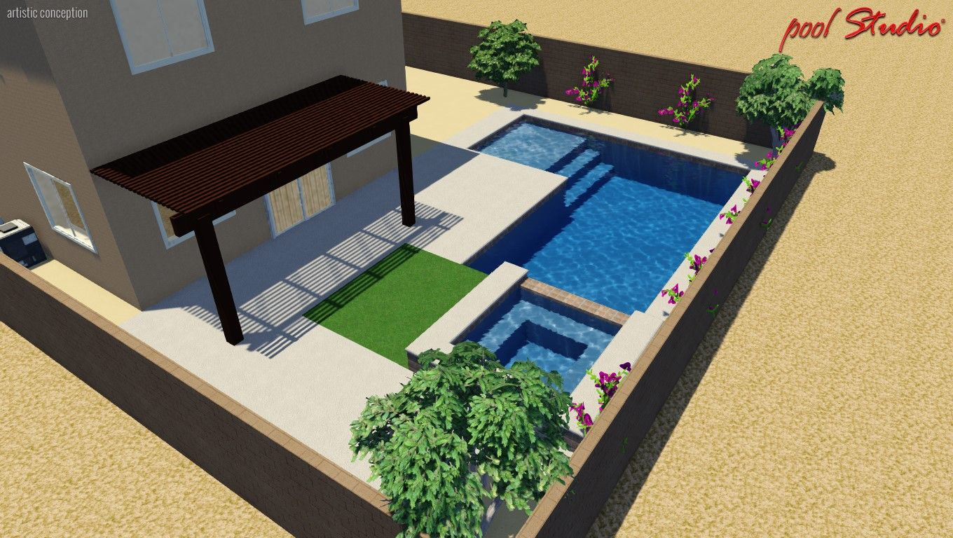 Our new pool. Perfect Design for a small space. Desert ...