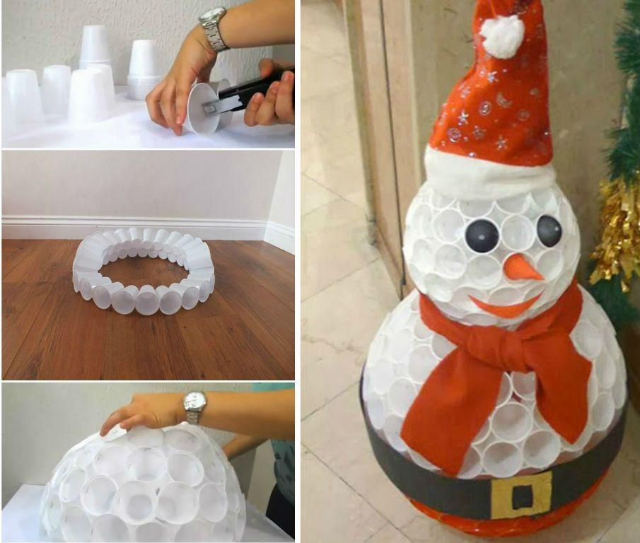 diy boneco de neve de natal com copos pl sticos e tecido. Black Bedroom Furniture Sets. Home Design Ideas