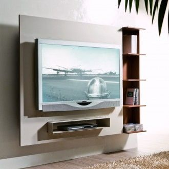 ghost schwenkbares tv wandpaneel mit b cherregal innenarchitektur tv wand tv m bel und tv. Black Bedroom Furniture Sets. Home Design Ideas