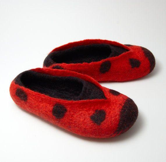 256ab4c4b2078 Felted Slippers Warm Lovely Ladybird adult by Eidrasa on Etsy ...
