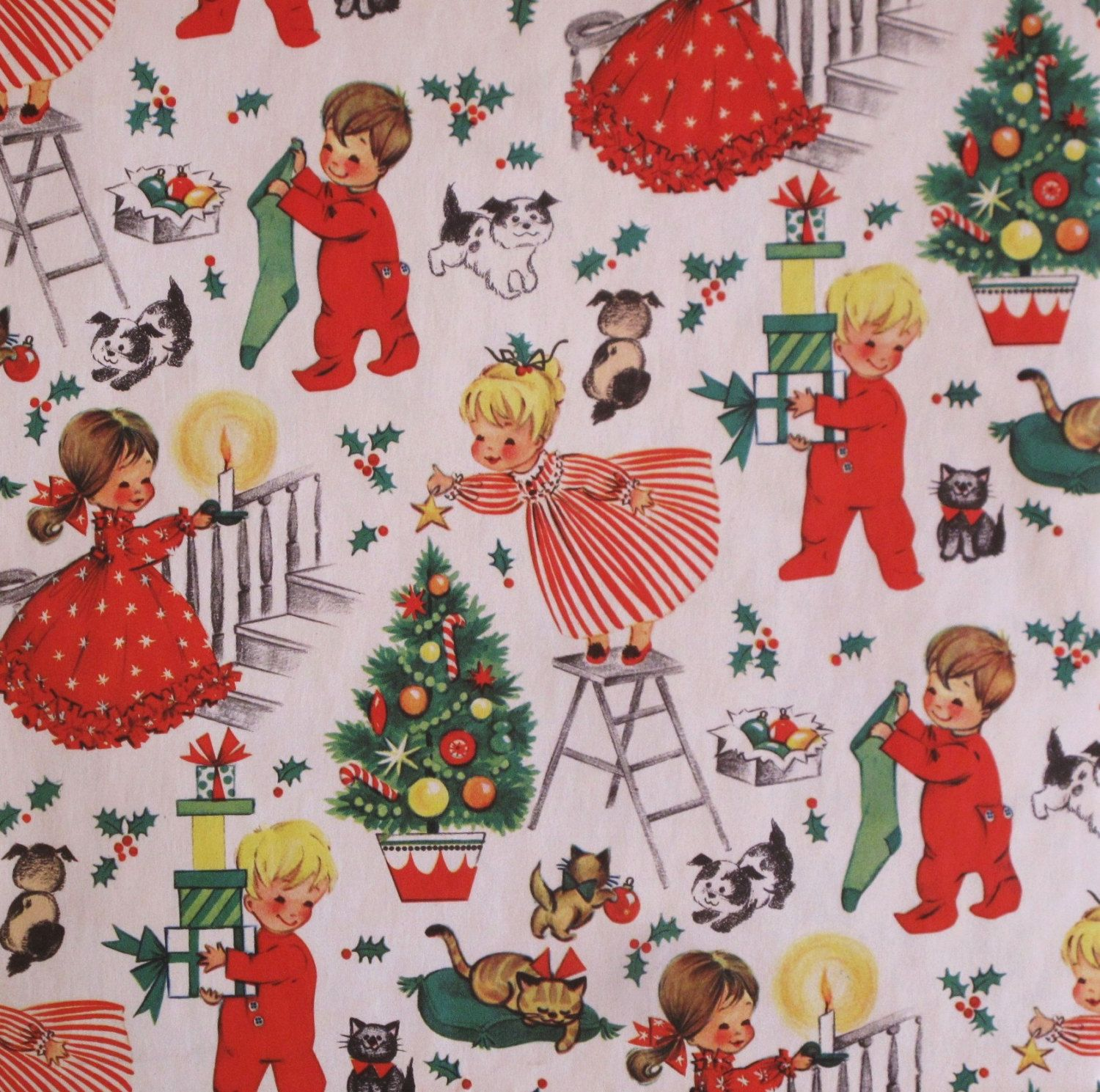 Vintage Juvenile Christmas Gift Wrap Wrapping Paper Girls And