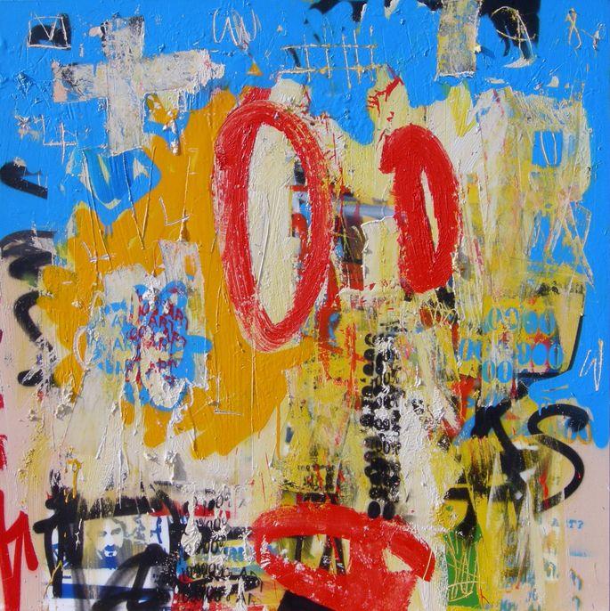 Lullililla & The Power of Babel, 2008. Oil & Spray Paint on Canvas, 100 x 100 cm