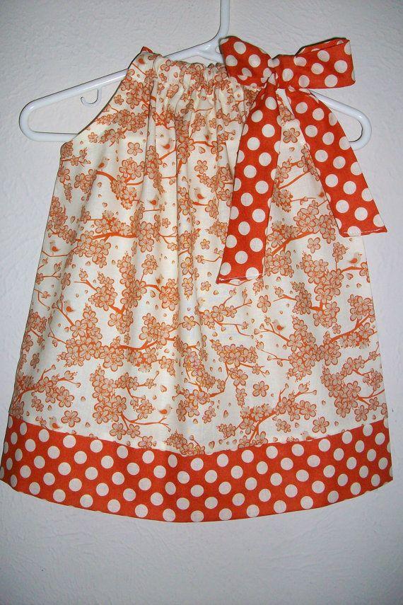 Pillowcase Dress with Flowers Cherry Blossoms Girls Dress with Birds Pumpkin Orange baby dress toddler dress Fall dress Thanksgiving Dress