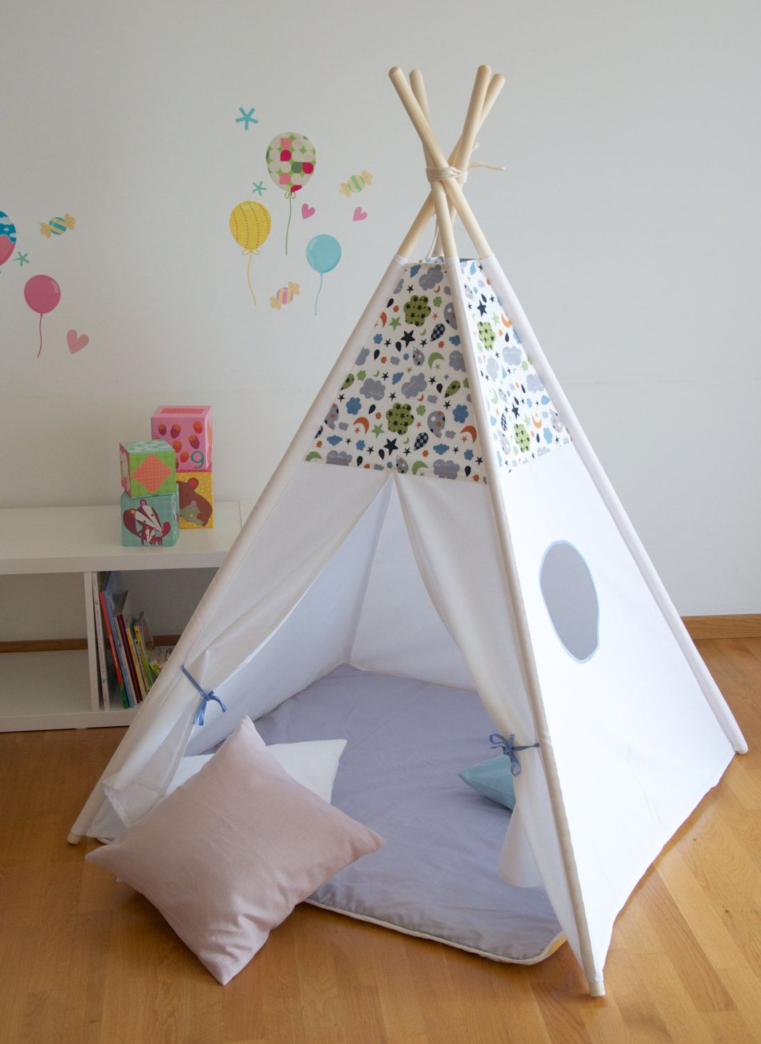 Grey clouds and stars kids teepee play tent with a padded floor mat by  WigiWama on