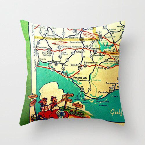 Rosemary Beach Florida Map.Map Pillow Roadtrip To 30a Panama City Seagrove Seaside Rosemary