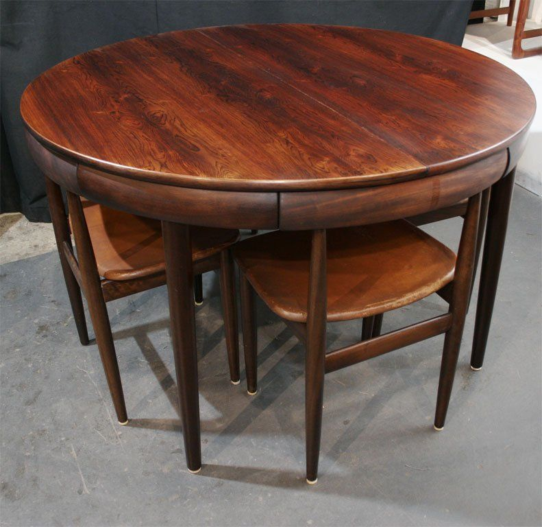 Rosewood Dining Table With Nested Chairs By Hans Olsen 2