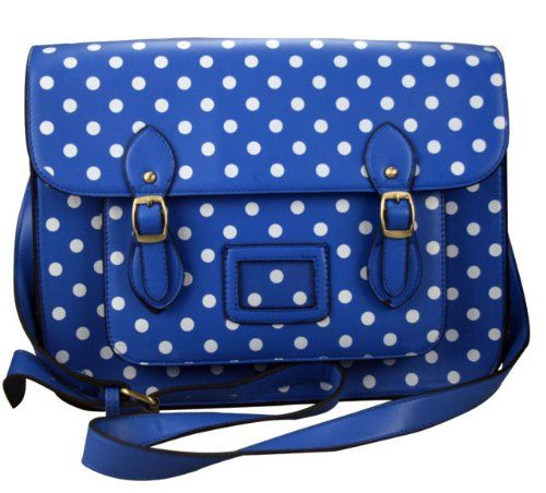Large Polka Dot leather Style Unisex Satchel Shoulder Work briefcase bag royal blue with white polka dots satchel Miss Lulu