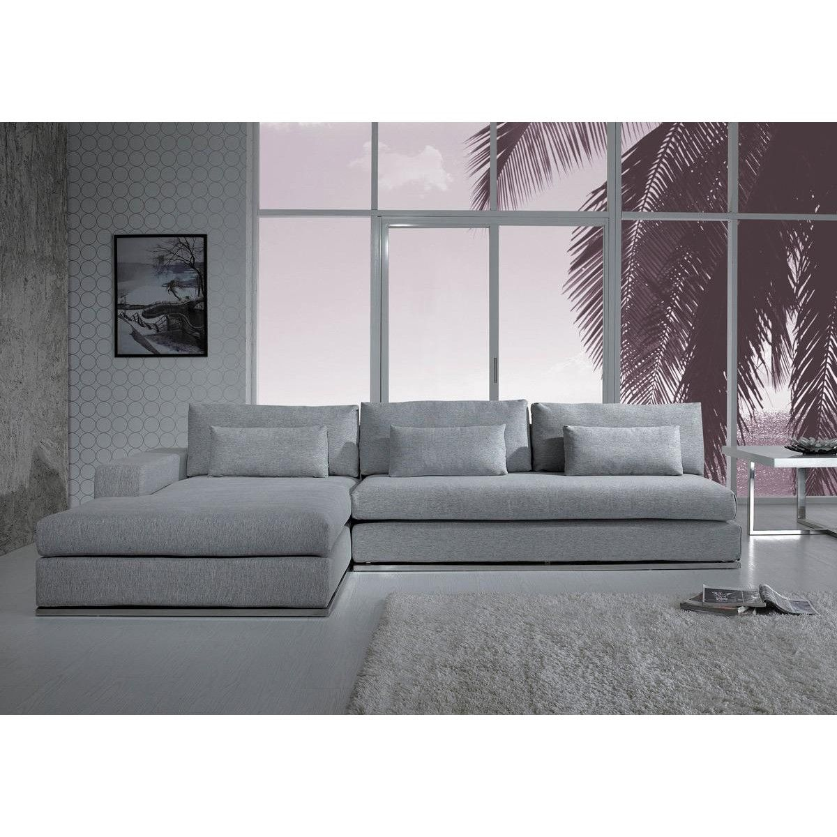 Grey Sectional Modern Style Gray Vig Furniture Sofas Fabric Design