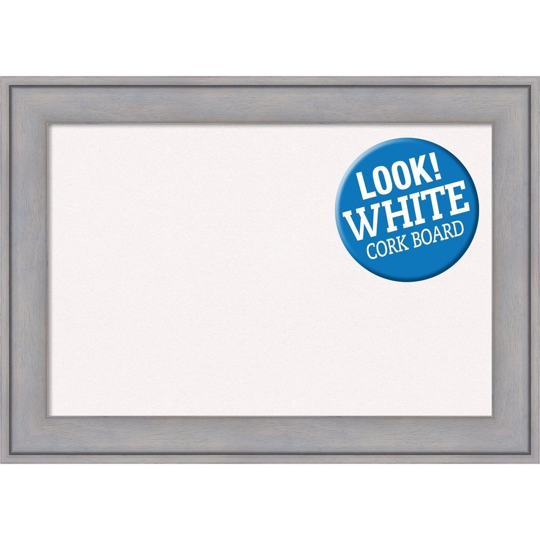 Amanti Art Framed White Cork Board, Graywash (extra large - 40 x 28 ...