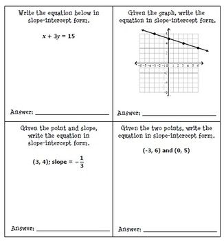 point slope form math is fun  Writing Linear Equations Line Match Activity   Linear ...