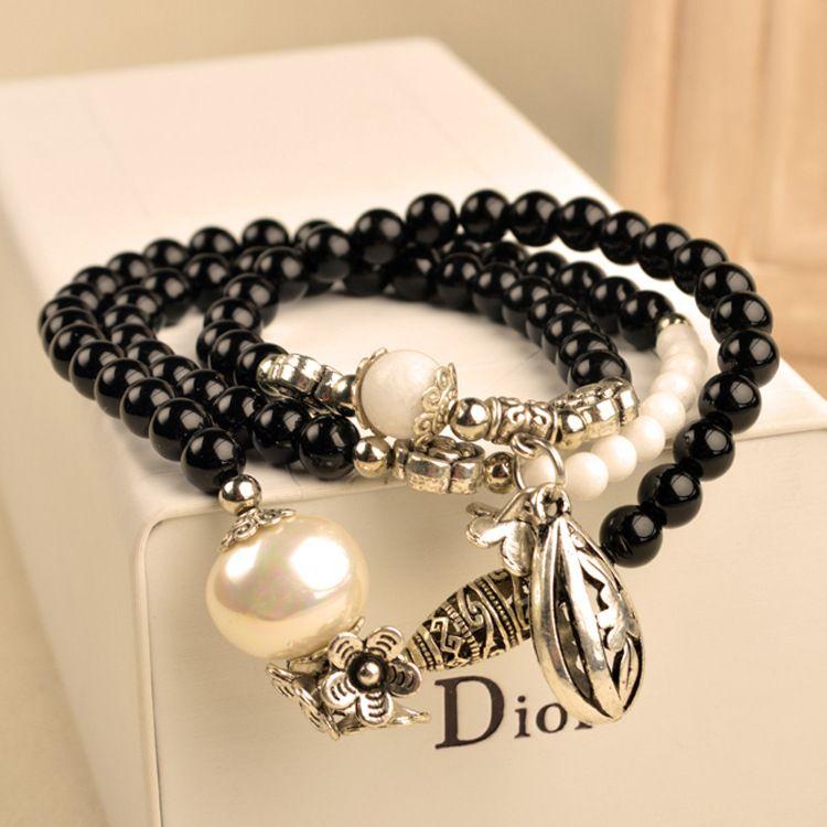 Beads Retro Armbänder Kristall Metall Blume Oval Perle Armbänder Mode Frauen Armbänder 3 Runden