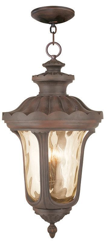 Livex Lighting 76703 Oxford 4 Light Outdoor Lantern Pendant Imperial Bronze Outdoor Lighting Pendants