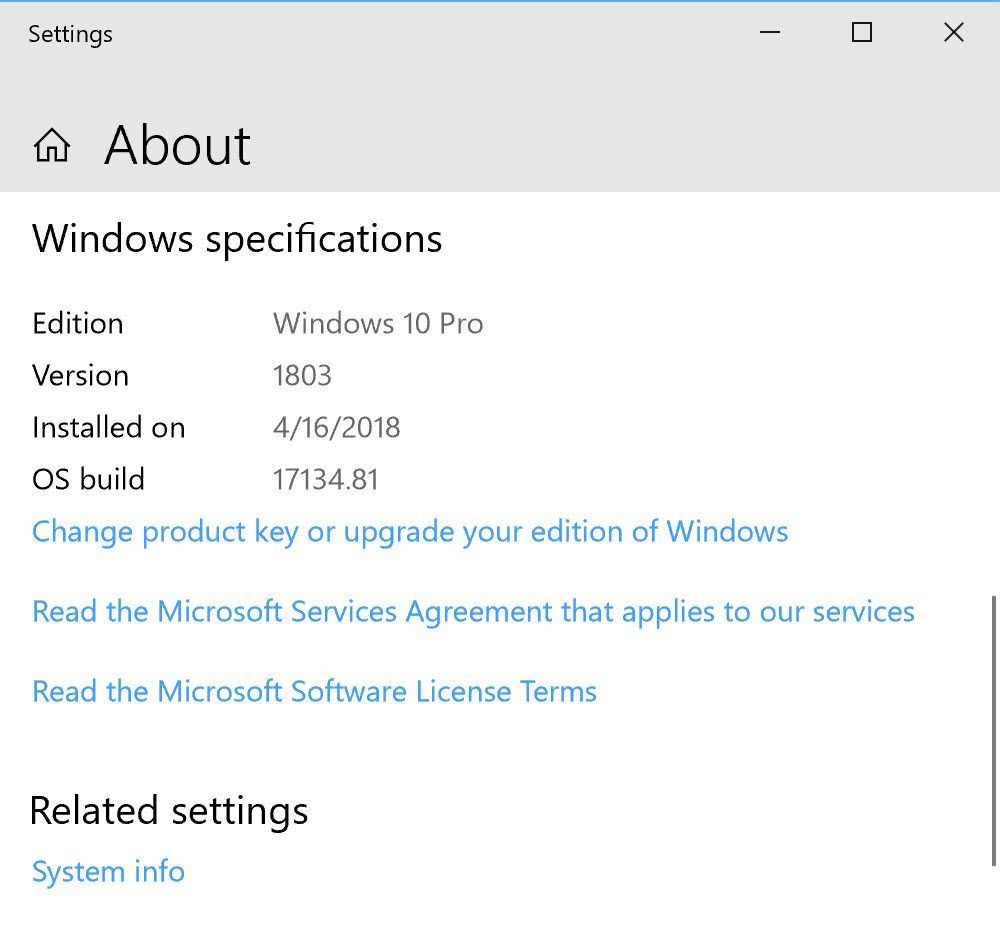Windows 10 Build Info 1803 Jpg Windows 10 Windows Microsoft Software