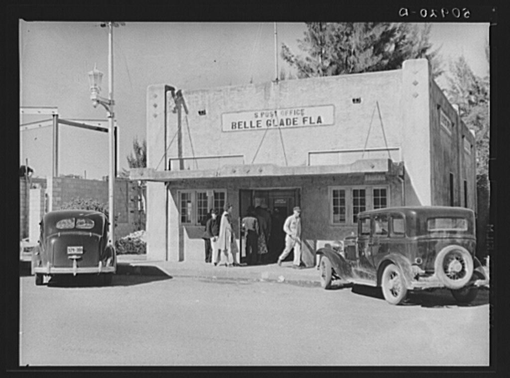 Post Office Belle Glade Florida January 1939 Photo Marion Post Wolcott U S Farm Security Administration Office Belle Glade Old Florida Key West Florida