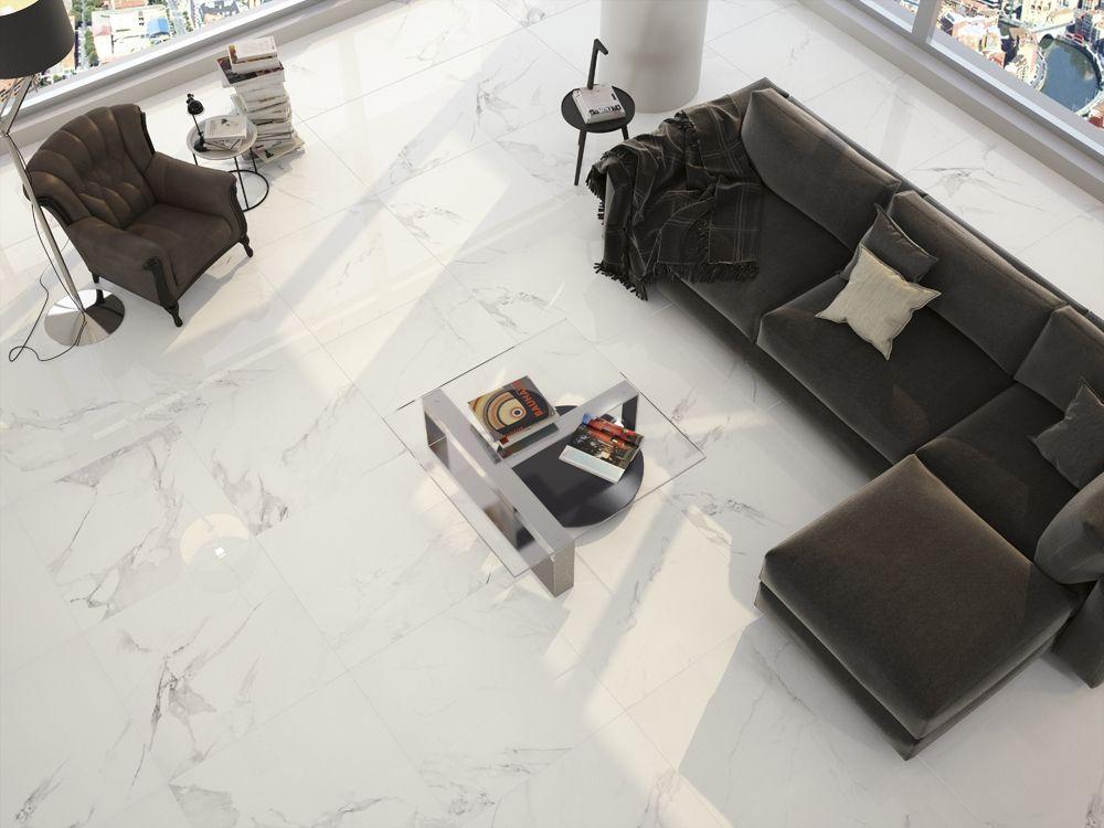 This Magnum White Large Format 80cm X Porcelain Floor Tile Has A Marble Effect