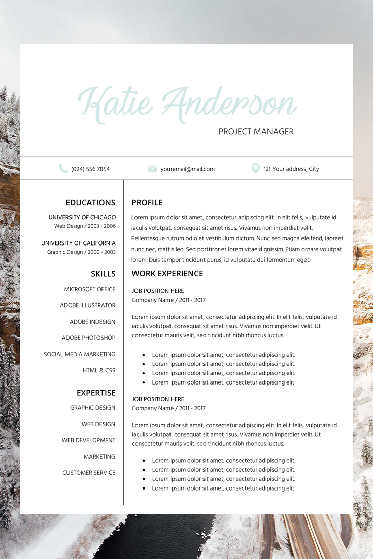 Resume Template Cv Cover Letter Katie Anderson Resume Template